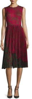 Jason Wu Lace-Print Sleeveless Pleated Dress, Raspberry $1,995 thestylecure.com