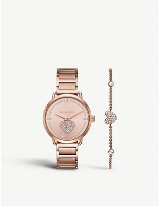 Michael Kors MK3827 Portia stainless steel watch and crystal-embellished heart chain bracelet gift set