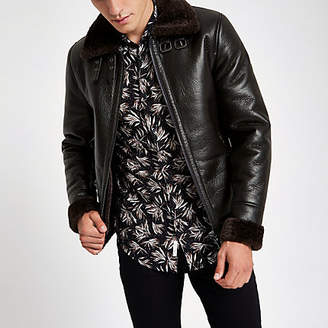 River Island Brown shearling faux leather aviator jacket