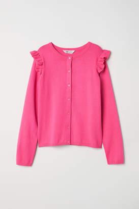 H&M Ruffled Fine-knit Cardigan - Pink