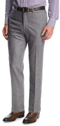 Kiton Wool-Cashmere Flat-Front Trousers, Gray