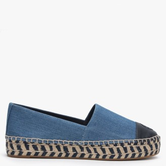 Tory Burch Colour-Block Denim Charmbray Perfect Navy Platform Espadrilles