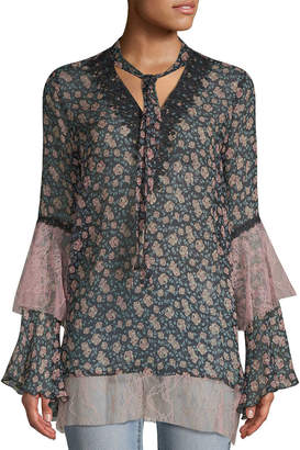 Anna Sui Lilies Of The Valley Crinkle Chiffon & Garden Lace Dress