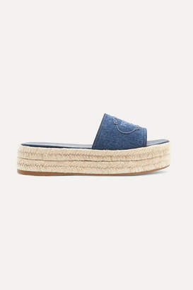 Prada Embroidered Denim Espadrille Platform Slides - Mid denim