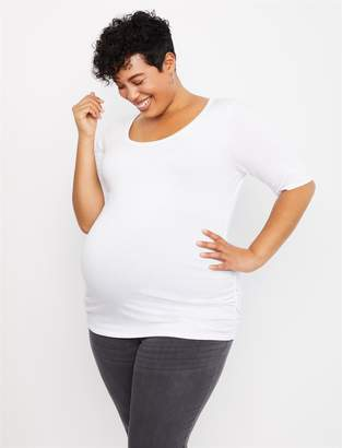 Motherhood Maternity Plus Size Side Ruched Elbow Sleeve Maternity T Shirt