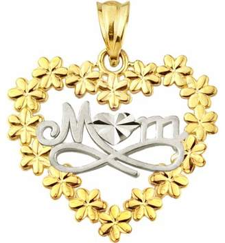 US Gold Handcrafted 10kt Gold Talking MOM with Flowers Charm Pendant