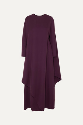 Valentino Cape-effect Asymmetric Silk-cady Gown - Purple