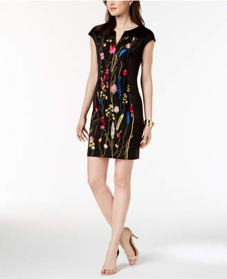 Connected Petite Embroidered Split-Neck Dress