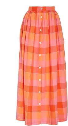 MDS Stripes Button Front Plaid Skirt