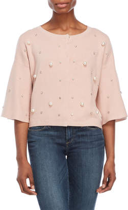 Cliche Blush Embellished Cropped Cardigan