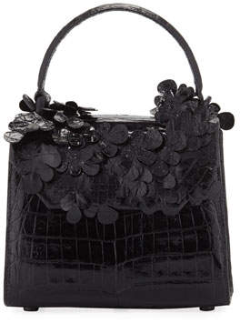 Nancy Gonzalez Lily Crocodile Top-Handle Bag with Flowers