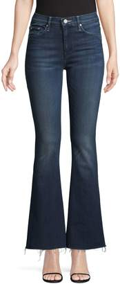 Mother Raw Hem Flared Jeans