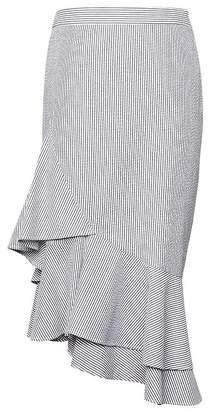 Banana Republic Petite Seersucker Asymmetric Ruffle-Hem Skirt
