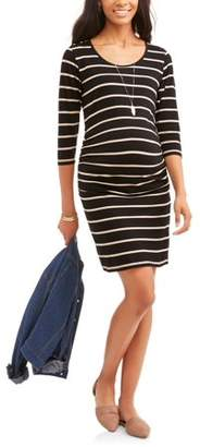 Oh! Mamma Maternity 3/4 Sleeve Scoop Neck Dress With Flattering Side Ruching--Available In Plus Size