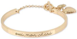 BCBGMAXAZRIA Gold-Tone Oui, Mon Cheri Heart Locket Cuff Bracelet