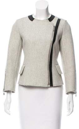 Louis Vuitton Leather-Trimmed Wool-Blend Jacket