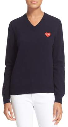 Comme des Garcons PLAY 'Play' Wool V-Neck Pullover