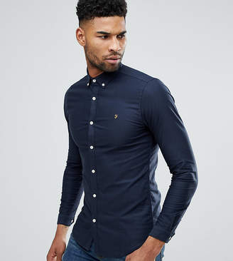Farah TALL Skinny Fit Button Down Oxford Shirt In Navy