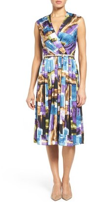 Women's Ellen Tracy Belted Brushstroke Print Satin Fit & Flare Dress $118 thestylecure.com