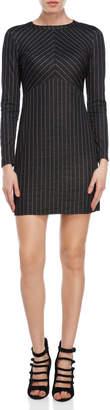 Bebop Pinstripe Long Sleeve Mini Dress