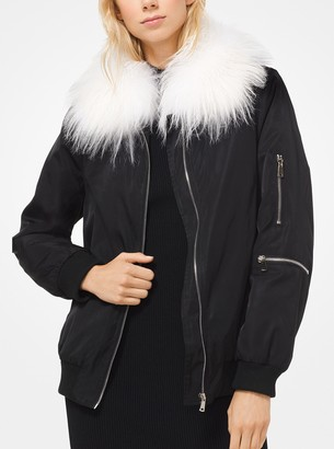 MICHAEL Michael Kors Goat Hair Collar Bomber Jacket