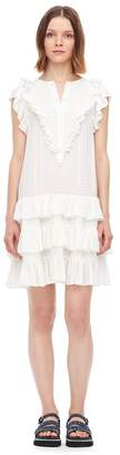 Rebecca Taylor La Vie Drapey Check Ruffle Dress