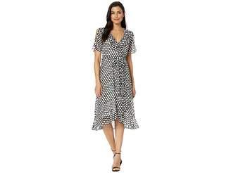 Donna Morgan 3/4 Sleeve Polka Dot Midi Wrap Dress