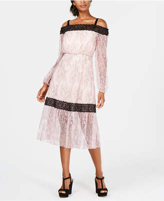 AVEC LES FILLES Cold-Shoulder Lace-Trim Midi Dress