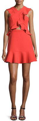BCBGMAXAZRIA Careen Ruffled Cutout Dress, Bright Poppy Red $268 thestylecure.com