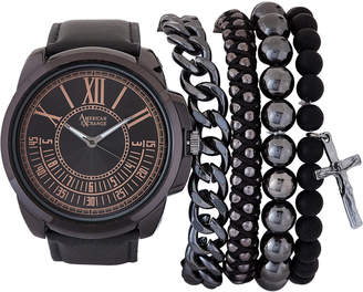 American Exchange MST5128 Gunmetal-Tone & Black Watch & Bracelet Set