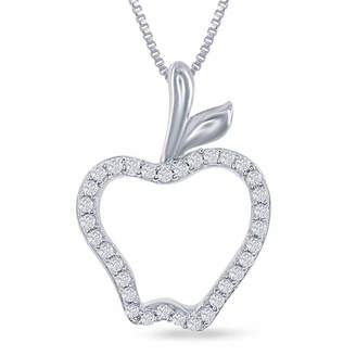 ENCHANTED FINE JEWELRY BY DISNEY Enchanted Disney Fine Jewelry 1/10 C.T. T.W. Diamond Disney Princess Apple Pendant Necklace In Sterling Silver