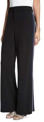 Derek Lam 10 Crosby Crepe Wide-Leg Side-Stripe Trousers, Black $495 thestylecure.com