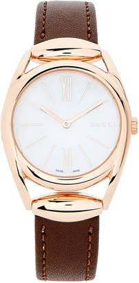 Gucci YA140507 Horsebit Rose Gold-Tone & Brown Watch