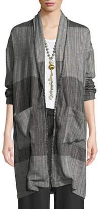 Eileen Fisher Organic Cotton Striped Long Cardigan Jacket, Plus Size