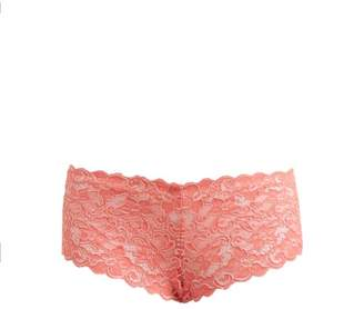 Hanro Moments Floral Lace Briefs - Womens - Dark Pink