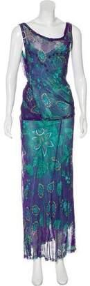 Blumarine Floral Print Layered Maxi Dress