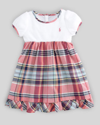 Ralph Lauren Plaid-Skirt Combo Dress, 12-24 Months