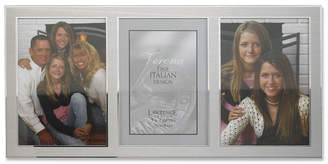 """Lawrence Frames Brushed Silver Metal and Shiny Metal Two Tone Hinged Triple Opening Panel - 5"""" x 7"""""""