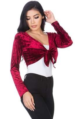 b07469b9cbd3 at Amazon Canada · Fashion Secrets Women`s Front Knot Tie Velvet Bolero  Shrug Cardigan Jacket