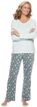 Croft & Barrow Petite Microfleece V-Neck Top & Pants Pajama Set