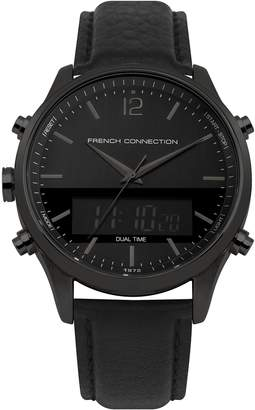 French Connection Men's Quartz Metal and Leather Casual Watch, Color: (Model: FC1311BB)