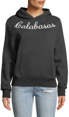 KENDALL + KYLIE Embroidered Oversized Fleece Hoodie
