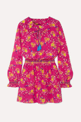 Saloni Tassel-trimmed Floral-print Silk Crepe De Chine Mini Dress - Fuchsia