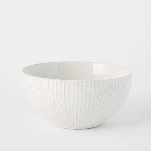 "Textured 9"" Serve Bowl - White (Lines)"