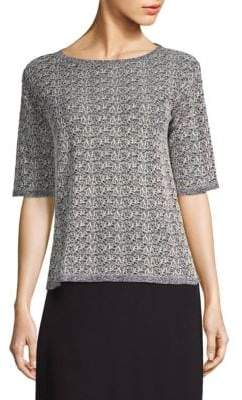 Eileen Fisher Elbow-Sleeve Fine Crepe Top