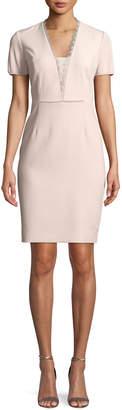 T Tahari Short-Sleeve Lace-Trim Sheath Dress