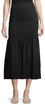 Rosetta Getty Smocked High-Waist Midi Skirt