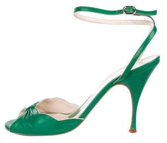 Alessandro Dell'Acqua Leather Peep-Toe Pumps