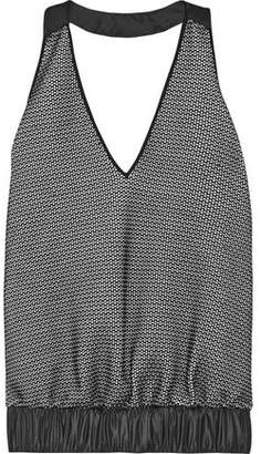 NO KA 'OI Lune Coated Shell-Trimmed Stretch-Knit Halterneck Top