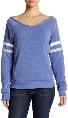 Alternative Varsity Stripe Slouched Pullover $48 thestylecure.com